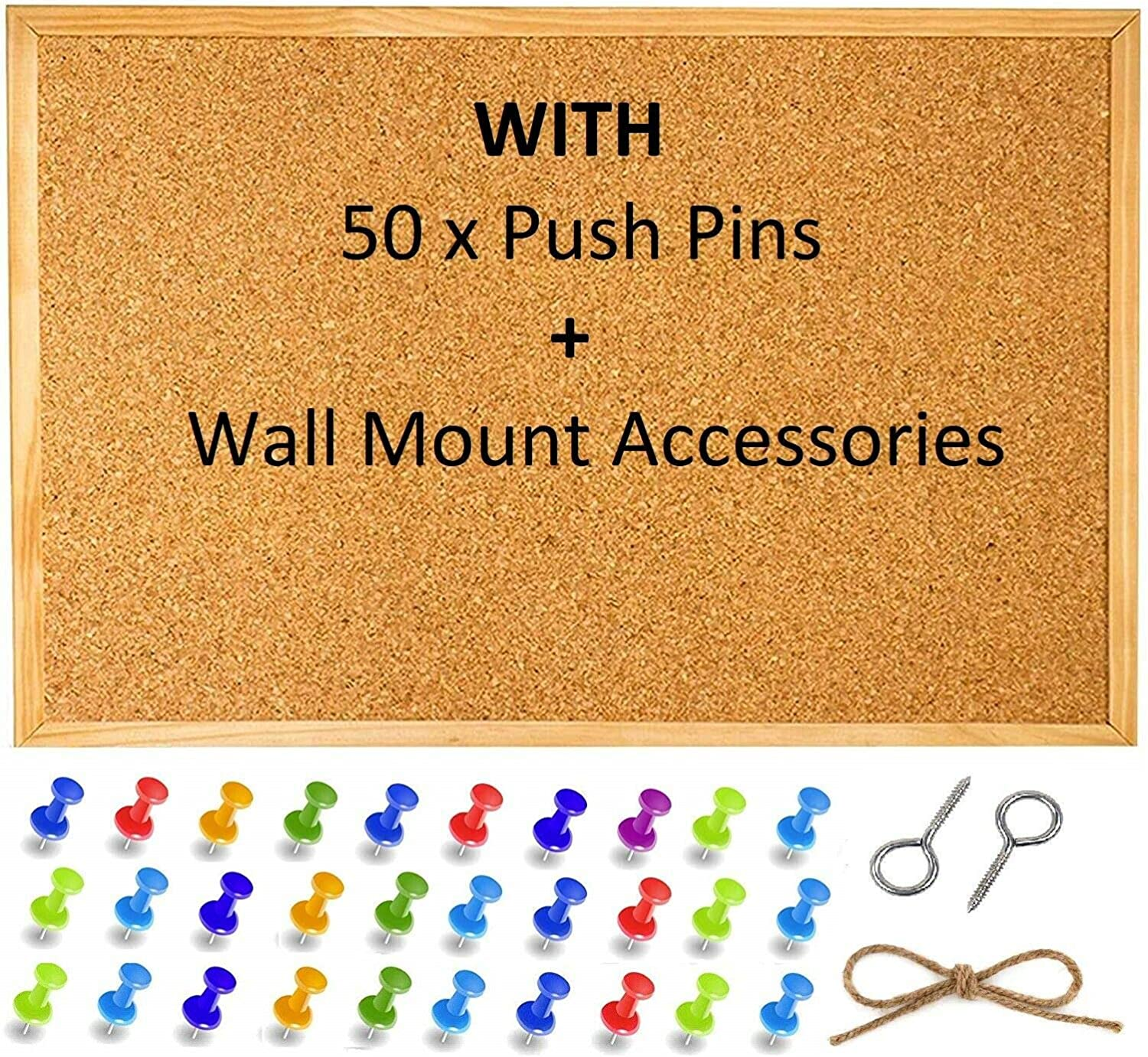 45 x 30 cm Wall Mount Screws and Push Pins Cork Pin Notice Board Bulletin Vision Boards for Home Bedroom Offices Memo Message Pictures Planner Display Organiser Wood Frame Corkboard