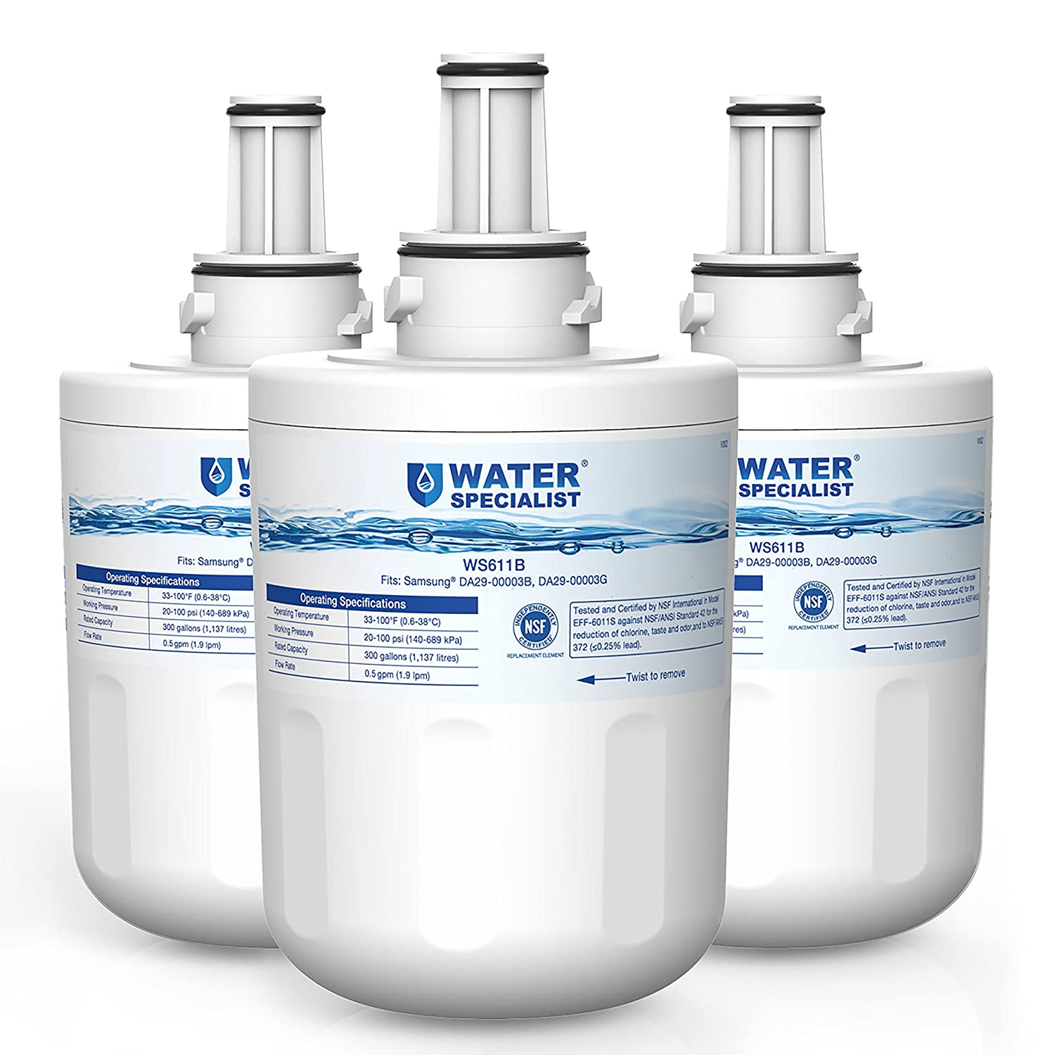 Waterspecialist DA29-00003G Refrigerator Water Filter, Replacement for Samsung DA29-00003B, RSG257AARS, RFG237AARS, DA29-00003F, HAFCU1, RFG297AARS, RS22HDHPNSR, WSS-1 (Pack of 3)