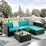 Pretzi Patio Furniture Sets Outdoor Sectional Sofa with Table All Weather Rattan Wicker Couch with Washable Cushions Conversa