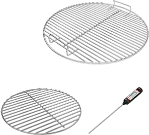 Uniflasy 7432 Cooking Grate, 7440 Charcoal Grate for Weber 18.5 Inch Charcoal Grills, Fits Weber One-Touch, Bar-B-Kettle, Smokey Mountain Cooker Smoker, Jumbo Joe, Original Kettle, with 1 Thermometer