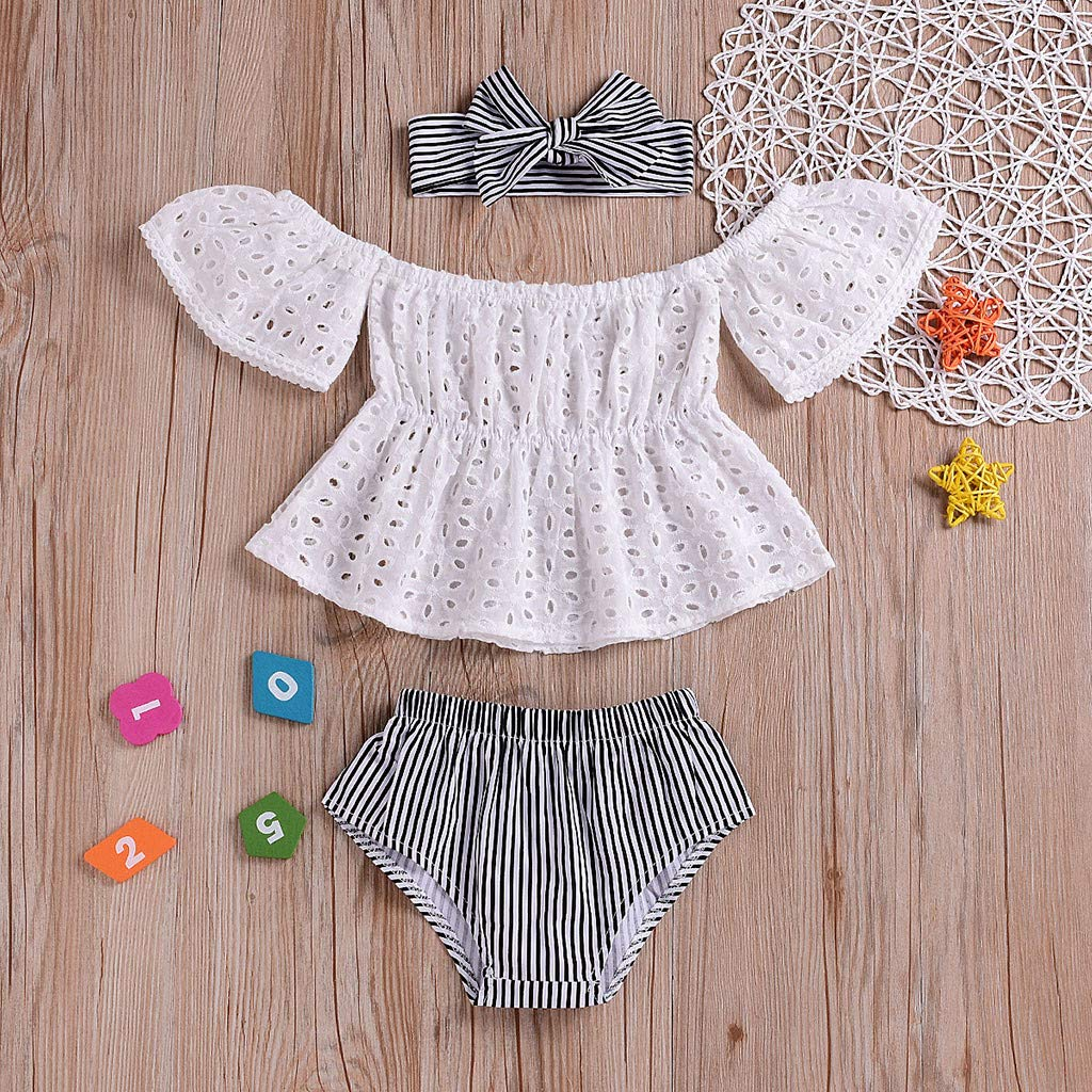 Fabal Infant Baby Girls Off Shoulder Solid Lace Tops+Striped Shorts+Headband Outfits