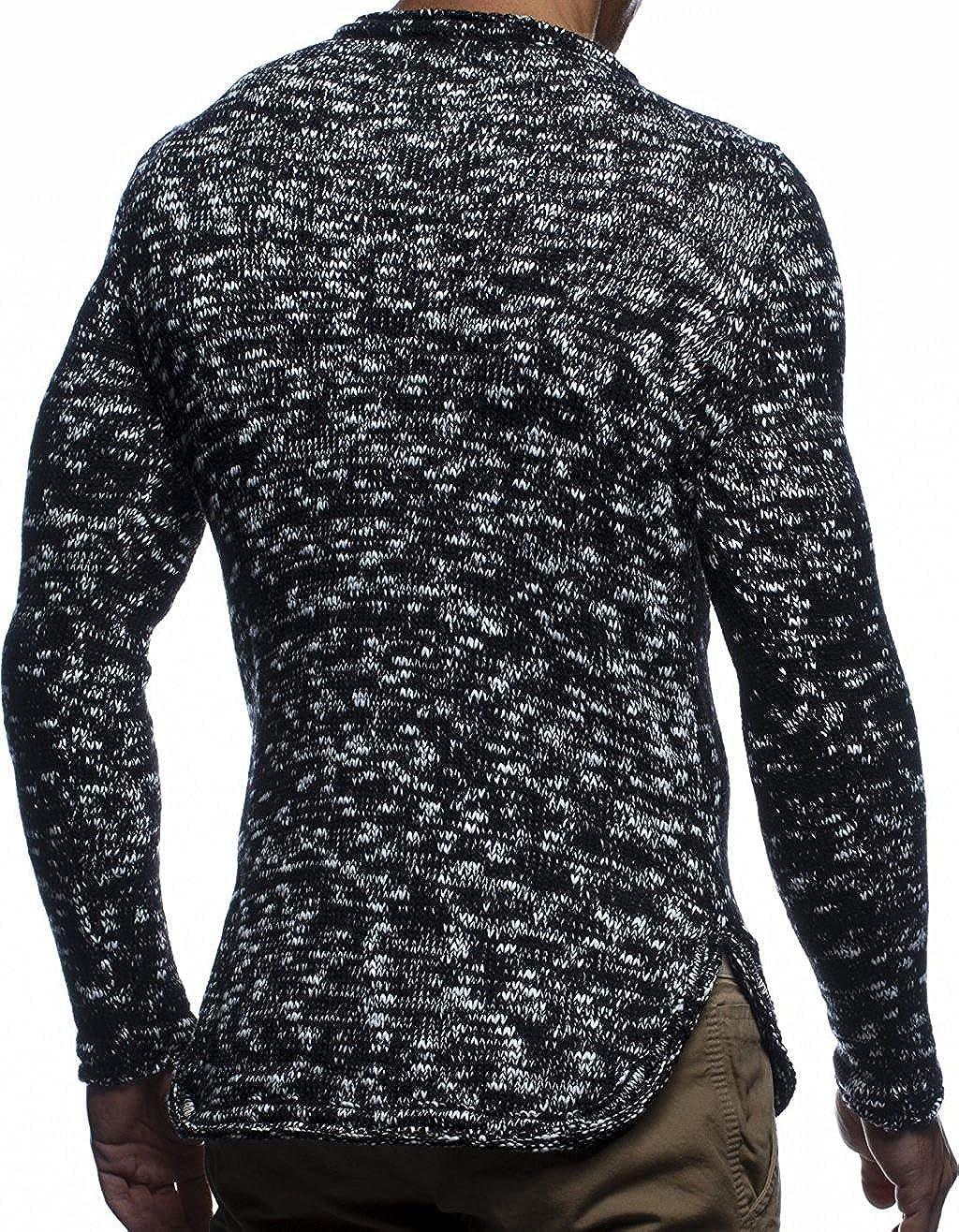 LN20723 Moderner schwarzer M/änner Pulli Sweatshirt Langarm Crew Neck LEIF NELSON Herren Strick-Pullover Rundhals-Ausschnitt Slim Fit Winter Sommer Hoodie-Wollpullover