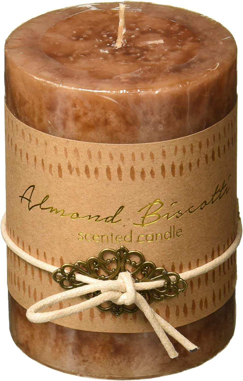 Home Locomotion 12010923 Almond Biscotti Pillar Candle 3x4, Multicolor