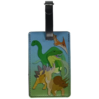 Graphics & More Dinosaurs-T-rex Triceratops Stegosaurus Leather Luggage Id Tag Suitcase, Black