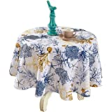 """YEMYHOM Modern Printed Spill Proof Cloth Round Tablecloths (60"""" Round, Blue Tree)"""