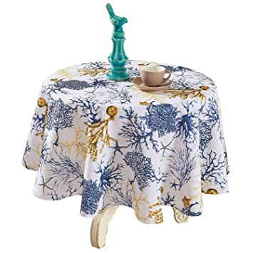 YEMYHOM Modern Printed Spill Proof Cloth Round Tablecloths (60u0026quot; Round,  ...