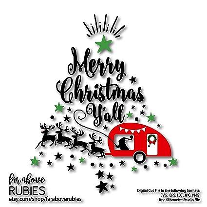 Merry Christmas Yall.Amazon Com Pene Christmas Camping Santa Reindeer Camper