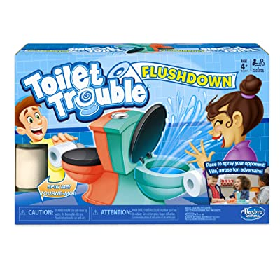 Hasbro Gaming Toilet Trouble Flushdown Kids Game Water Spray Ages 4+: Toys & Games