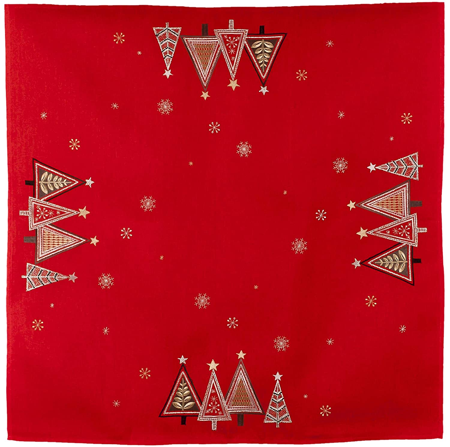 Linens Art and Things Embroidered Modern Triangle Christmas Trees on Red Table Topper Small Tablecloth 34 x 34 Inch
