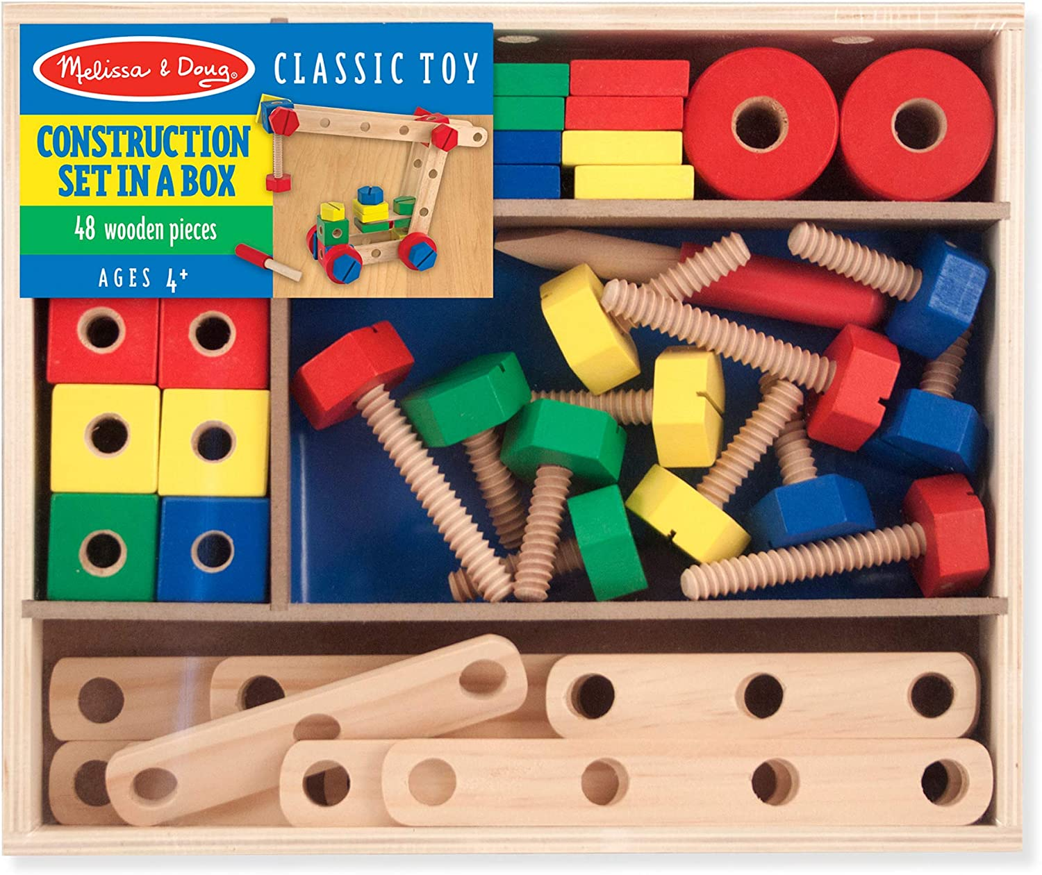 Melissa & Doug Wooden Construction Building Set in a Box (Developmental Toy, 48 Pieces, Great Gift for Girls and Boys - Best for 4, 5 and 6 Year Olds)