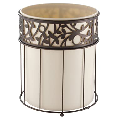 mDesign Decorative Round Small Trash Can Wastebasket, Garbage Container Bin Bathrooms, Powder Rooms, Kitchens, Home Offices - Vanilla Plastic, Steel Wire Frame in Bronze Finish