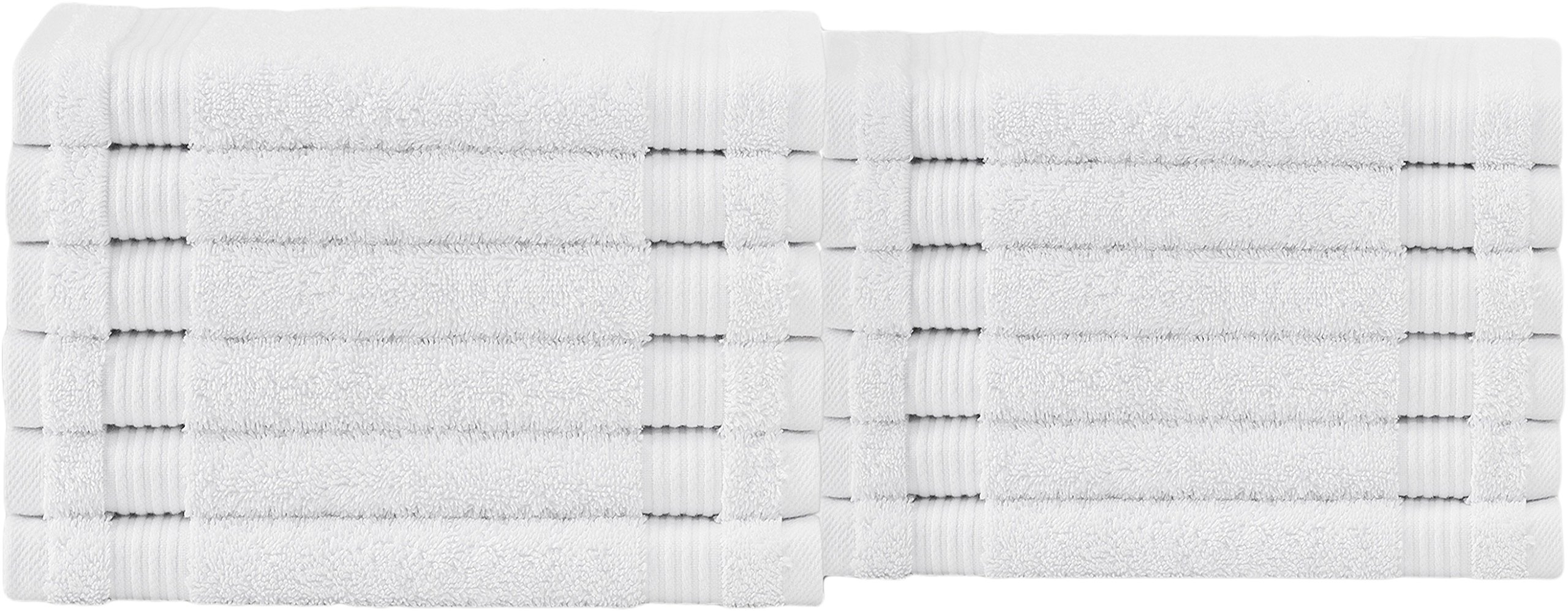 Classic 100% Turkish Cotton Washcloth Towel Set - Absorbent and Durable Hotel, Spa, and Gym Quality 12 Pc Set (White Dove, 48 Pack)