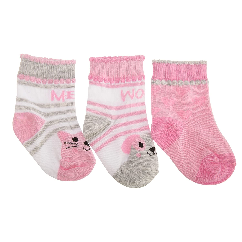 - B/éb/é fille Chien//Chat Assortiment de chaussettes en coton /à motifs animaux 15 EU Lot de 3
