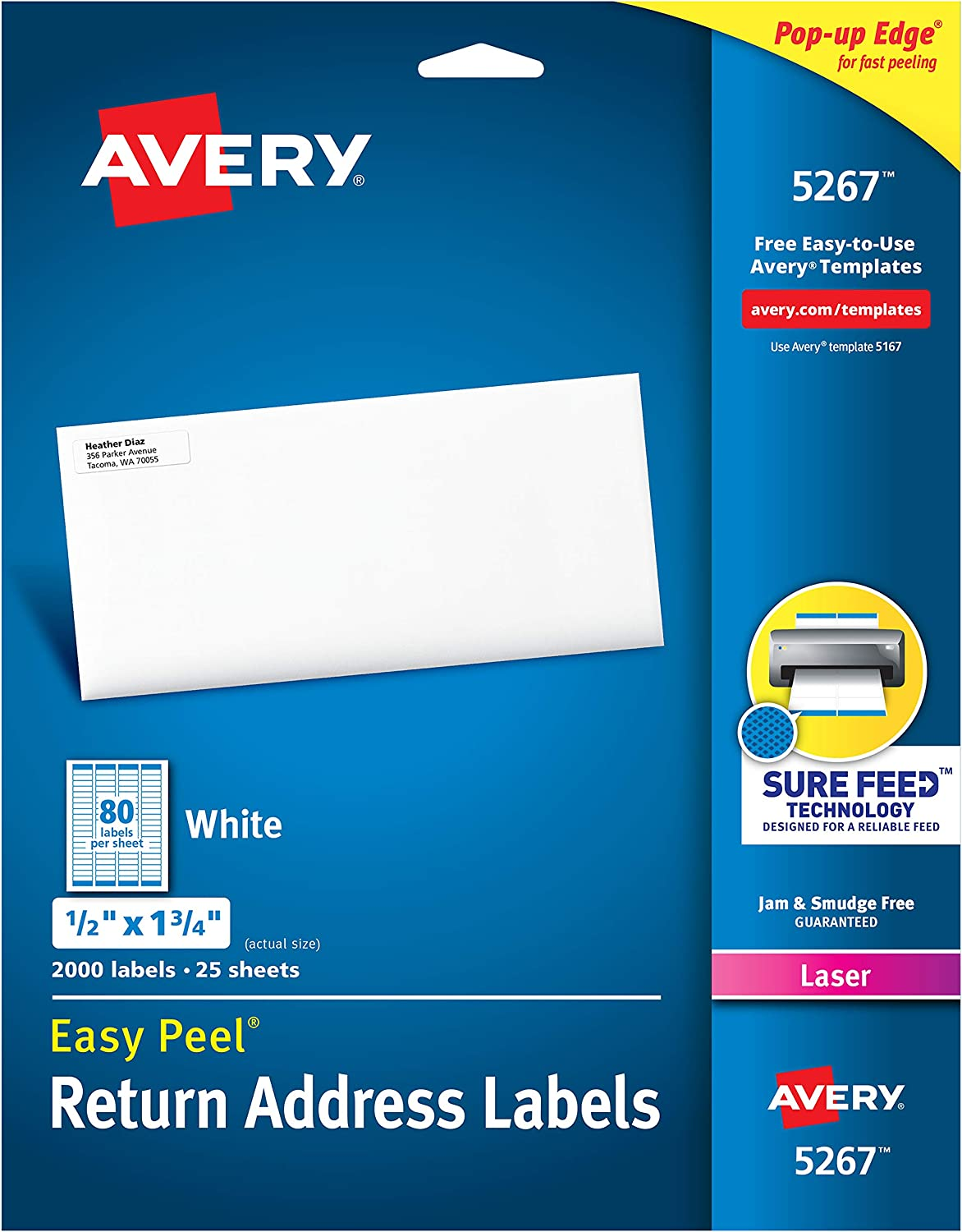 AVERY 5267 Easy Peel Return Address Labels, Laser, 1/2 x 1 3/4, White (Pack of 2000), (Model: 05267)