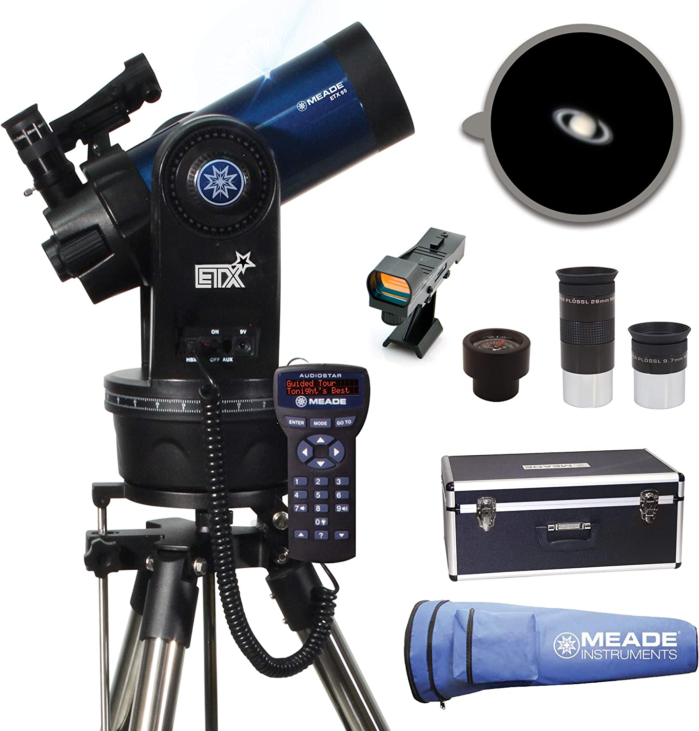 Meade Instruments 205004 ETX90 Observer Maksutov-Cassegrain Telescope with Tripod, Eyepieces, and Hand Carry Case,Blue