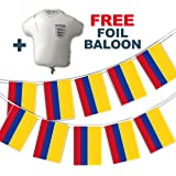 Party Decor Set to Celebrate Football World Cup 2018 - Colombia Flags - bunting and free foil balloon