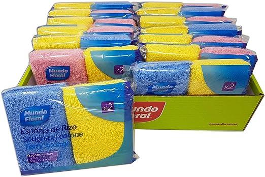 Mundo Floral. Esponjas de baño de rizo de algodón. Muy suaves perfectas para pieles sensibles y de todo tipo. Bandeja con 28 esponjas envasadas en 14 packs de 2 uds: Amazon.es: Belleza