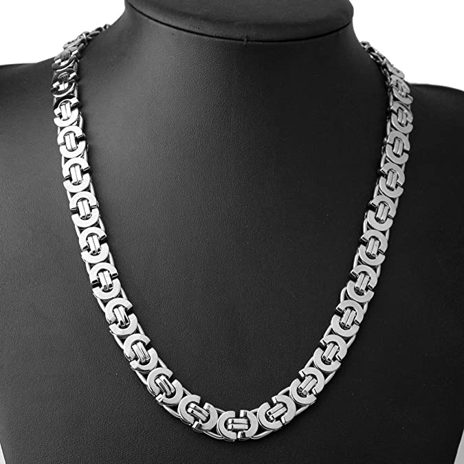 Charming 6//8//11mm Stainless Steel Women Mens Byzantine Boxes Chain Necklace Gift