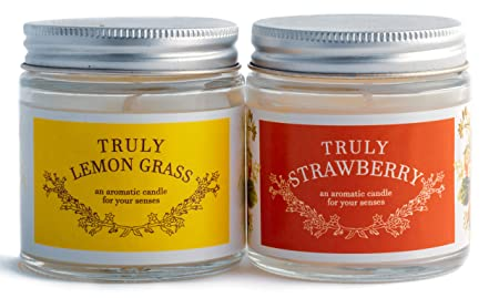 Sakura Enterprise Scented Wax Candles Jars in True Fragrance and Aroma (Strawberry and Lemongrass)