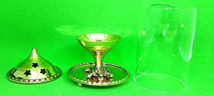 Jaipuri haat Akhand Diya with Tortoise Base (Medium, Brass) for Good Luck