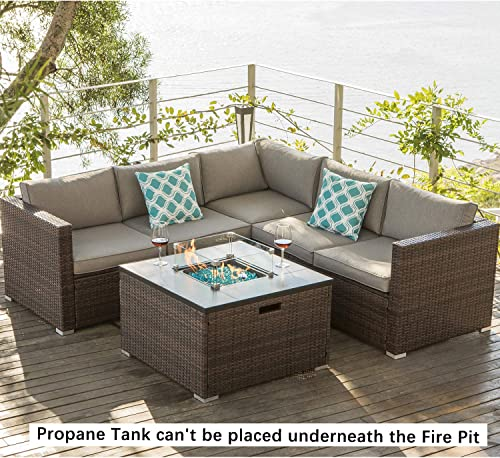 COSIEST 4-Piece Propane Fire Pit Outdoor Furniture Brown Sofa Set, Patio Setional w 32-inch Square Wicker Fire Table 40,000 BTU , Fits 20 gal Tank Outside w Glass Wind Guard for Garden, Backyard