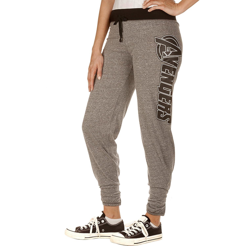 Marvel The Avengers Logo Women's Juniors Fit Jogger Leggings Yoga Lounge Pants Grey-Black