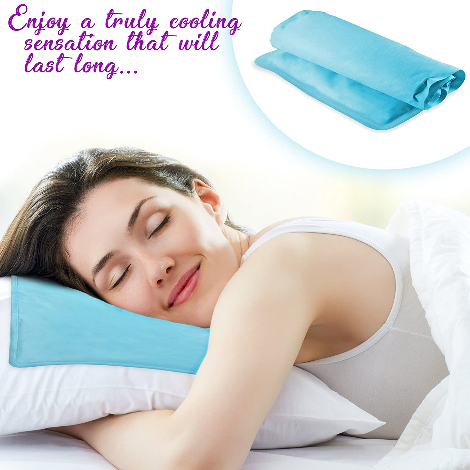 Relieves Neck Back Pain. Odourless Naturally Cooling Pad 55x30cm Soft Gel Cool Pillow Mat Insert No Water Filling Needed Helps with Migraines Hot Flashes Fevers Leak Proof for Better Sleep