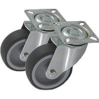 2 stuks apparaatwielen 50 75 100 mm wieldiameter van rubber grijs spoorloos bevestiging gatplaat als zwenkwielen zonder…