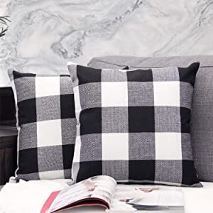 JOJUSIS Buffalo Check Plaid Throw Pillow Covers Cotton Linen Soft Solid Farmhouse Classic Decorative Square Cushion Cases for Sofa Bedroom Car Pack of 2 Black 20 x 20 Inch