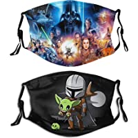 2pcs Star Wars Yoda With Filter Face Cover Reusable Bandana Washable Scarf For Men Women Teens Adults