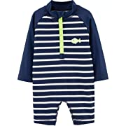 Carter's Baby Boys Striped Rash Guard, Blue/White, 12 Months