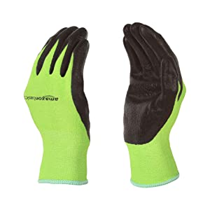 AmazonBasics Working Gloves with Touchscreen, Green, M, 5-Pair