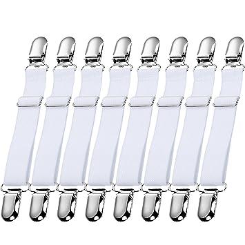 Hestya 12 Piezas de Sujetador de Sábana de Cama Ajustable Clip de Metal Correa de Colchón Elástica Sujetasábana para Materiales de Hogar (Blanco): ...