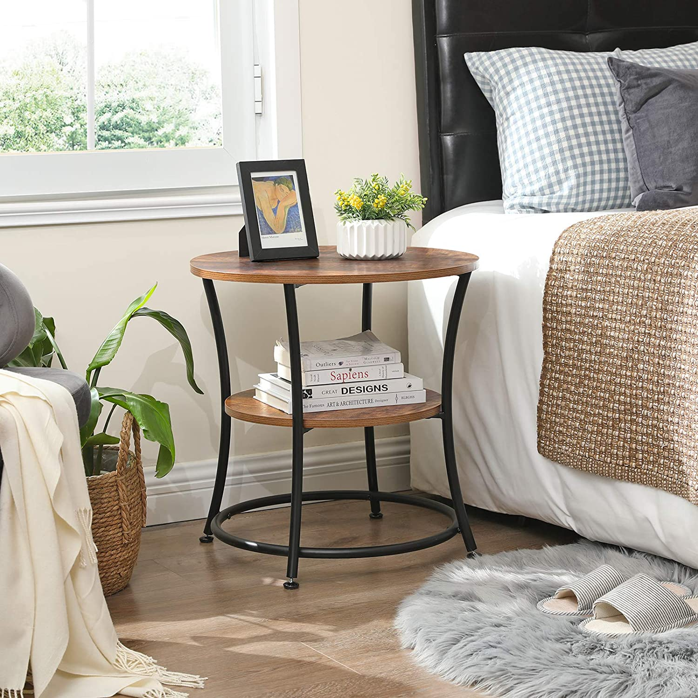 VASAGLE Beistelltisch rund Sofatisch Industrie-Design Dunkelbraun LET56BX Metall Vintage Schlafzimmer Wohnzimmer 2 Ablagen einfacher Aufbau