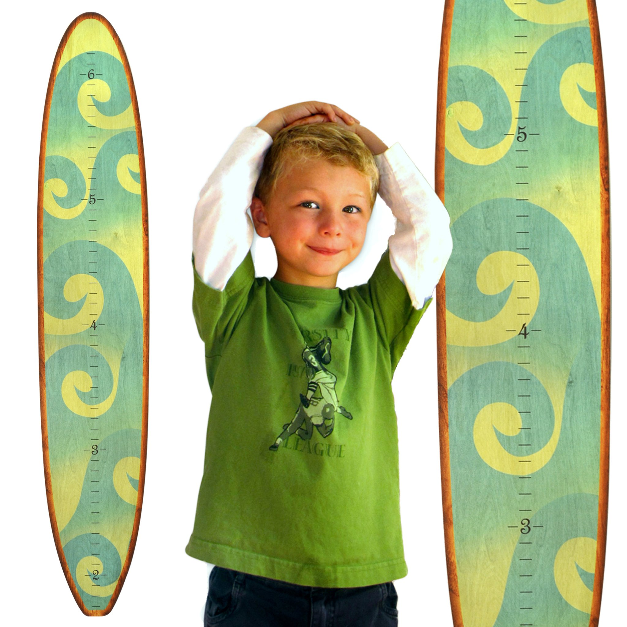 Growth Chart Art | Wooden Surfboard Growth Chart for Boys & Girls | Nursery Wall Decor | Surfboard (The Wave) by Growth Chart Art