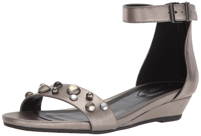 Kenneth Cole REACTION Women's Great Vibe Stud Strap 2 Piece Wedge Sandal B074RM8VRM 7.5 B(M) US|Hematite