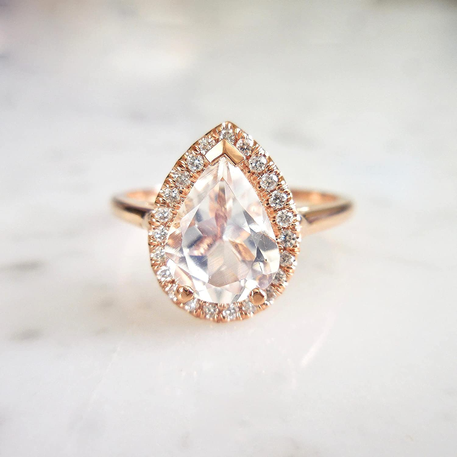 Naomi European and American pear Shaped Zircon Ring Plated with 18K Rose Gold Rose Gold 6