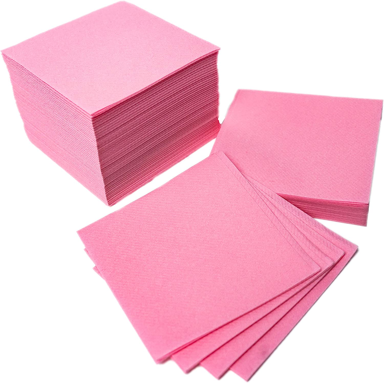 """American Homestead Cocktail Napkins - Small 4"""" x 4"""" Linen-Like Disposable Beverage/Bar Napkins - Bulk Square Napkins Eco-Friendly & Compostable - Everyday Use, Party or Wedding (100 Count, Pink)"""