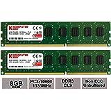 Komputerbay 8GB (2 X 4GB) DDR3 DIMM (240 pin) 1333Mhz PC3 10600 / PC3 10666 9-9-9-25 1.5v 8 GB KIT
