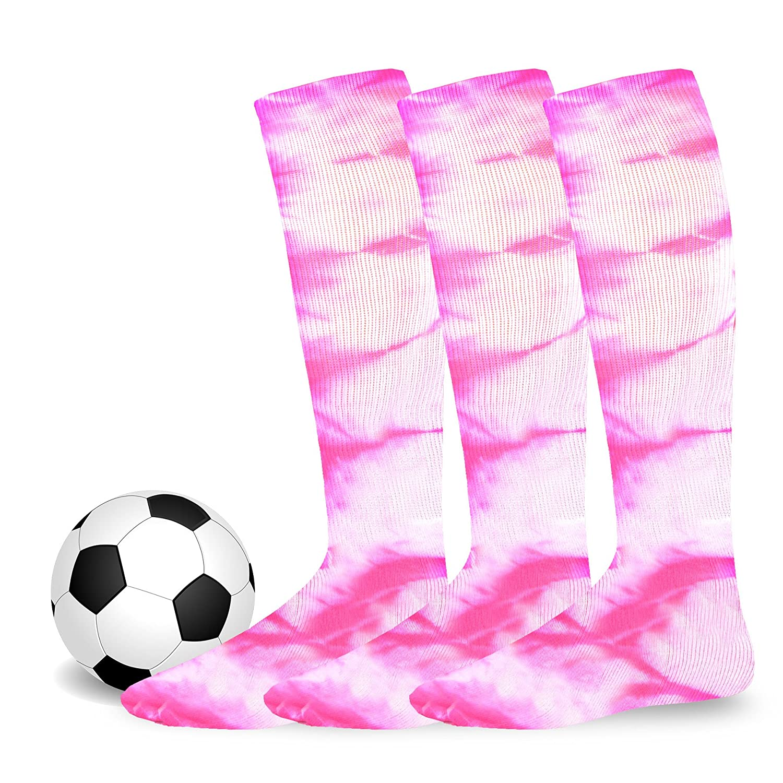Junior, Pink, Size 7-9 Soxnet Cotton Unisex Soccer Sports Team Socks 3 Pack
