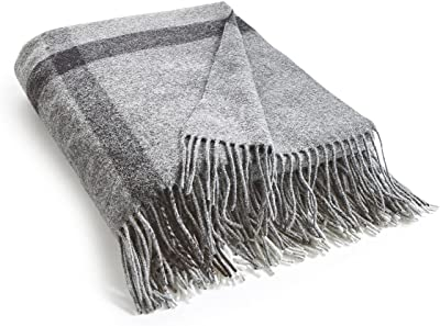 La Redoute Babira Lambswool and Cashmere Throw Grey Size 130 X 170 cm