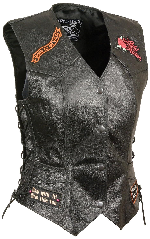 Event Leather Womens 9 Patches Vest Black, XXX-Large