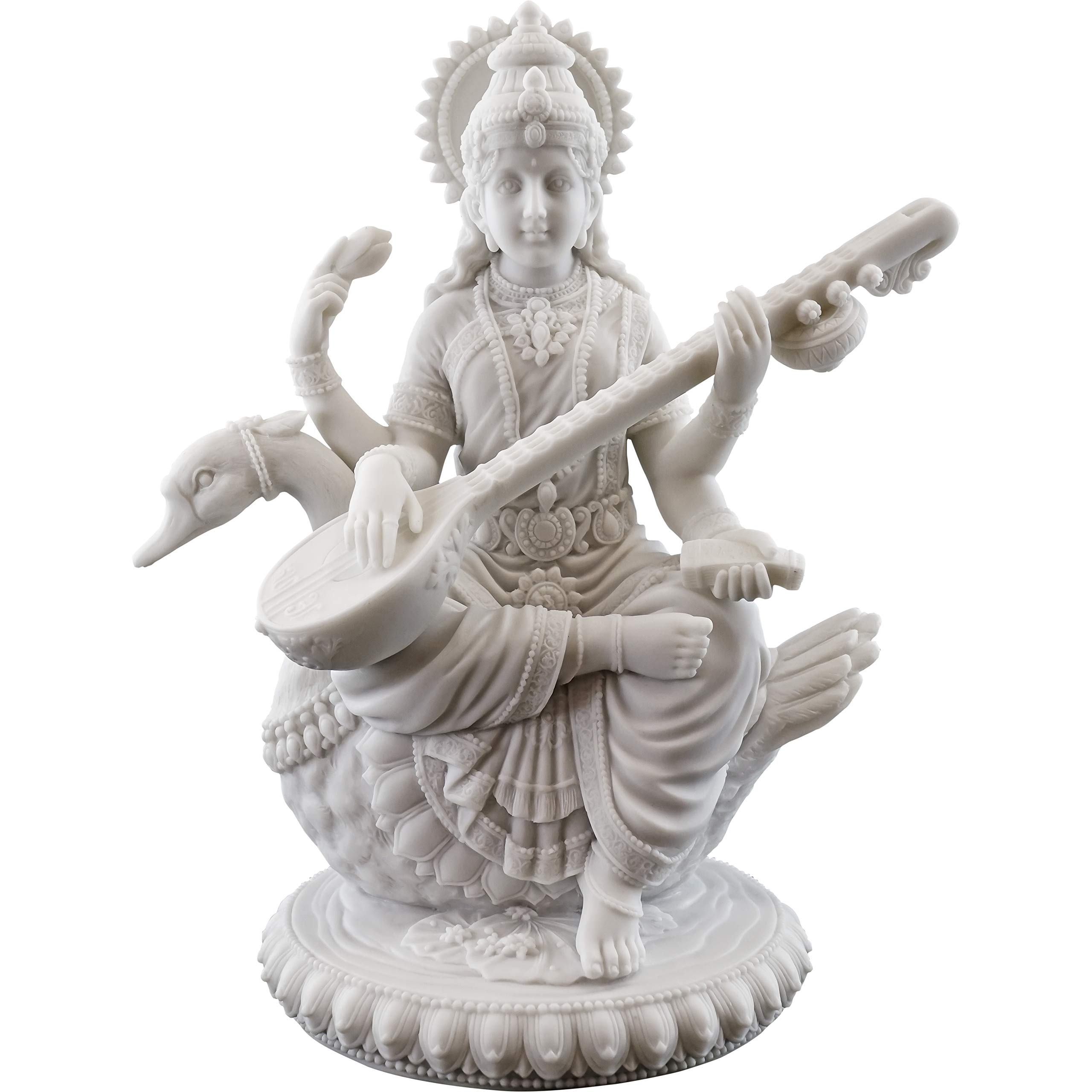 Top Collection 8'' H 7'' W Saraswati on Swan Statue in White Marble Finish - Hindu Goddess of Knowledge Sculpture by Top Collection