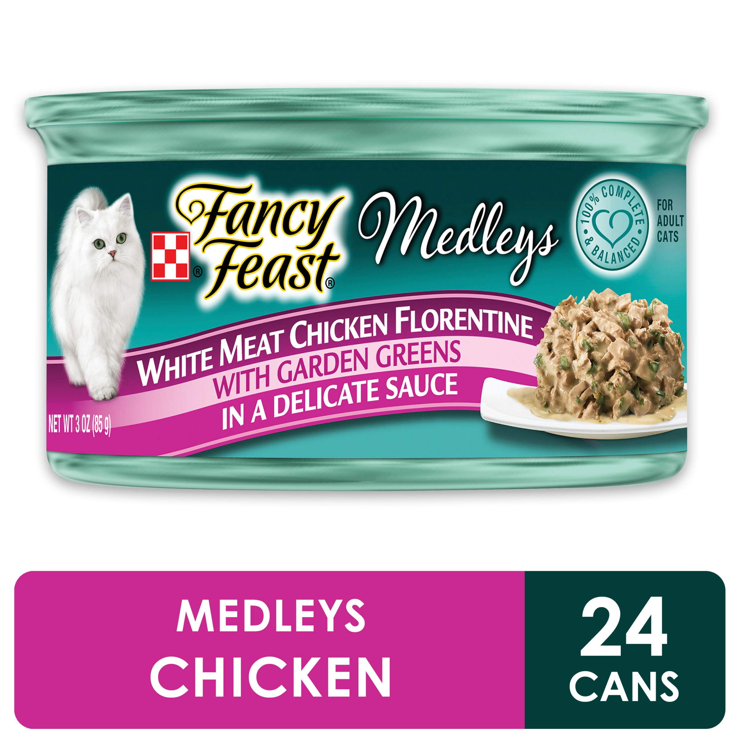 Purina Fancy Feast Gravy Wet Cat Food, Medleys White Meat Chicken Florentine With Garden Greens - (24) 3 oz. Cans by Purina Fancy Feast
