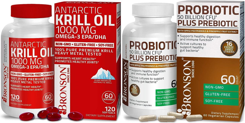 Probiotic 50 Billion CFU + Prebiotic with Apple Polyphenols & Pineapple Fruit Extrac + Bronson Antarctic Krill Oil 1000 mg with Omega-3s EPA DHA