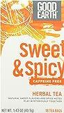 Good Earth Sweet & Spicy Caffeine Free Herbal Tea, 18 Count Tea Bags (Pack of 6)