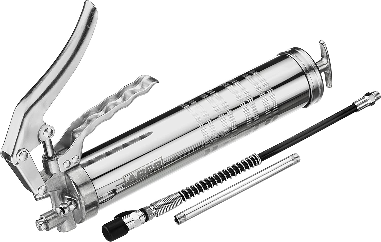 ARES 71040 - Pistol Grip Grease Gun - Includes 12-Inch High Pressure Nylon Hose & 6.7-Inch Rigid Extender - 4500 to 8000 PSI Pressure - 14 Ounce Cartridge & 400cc Bulk Loading