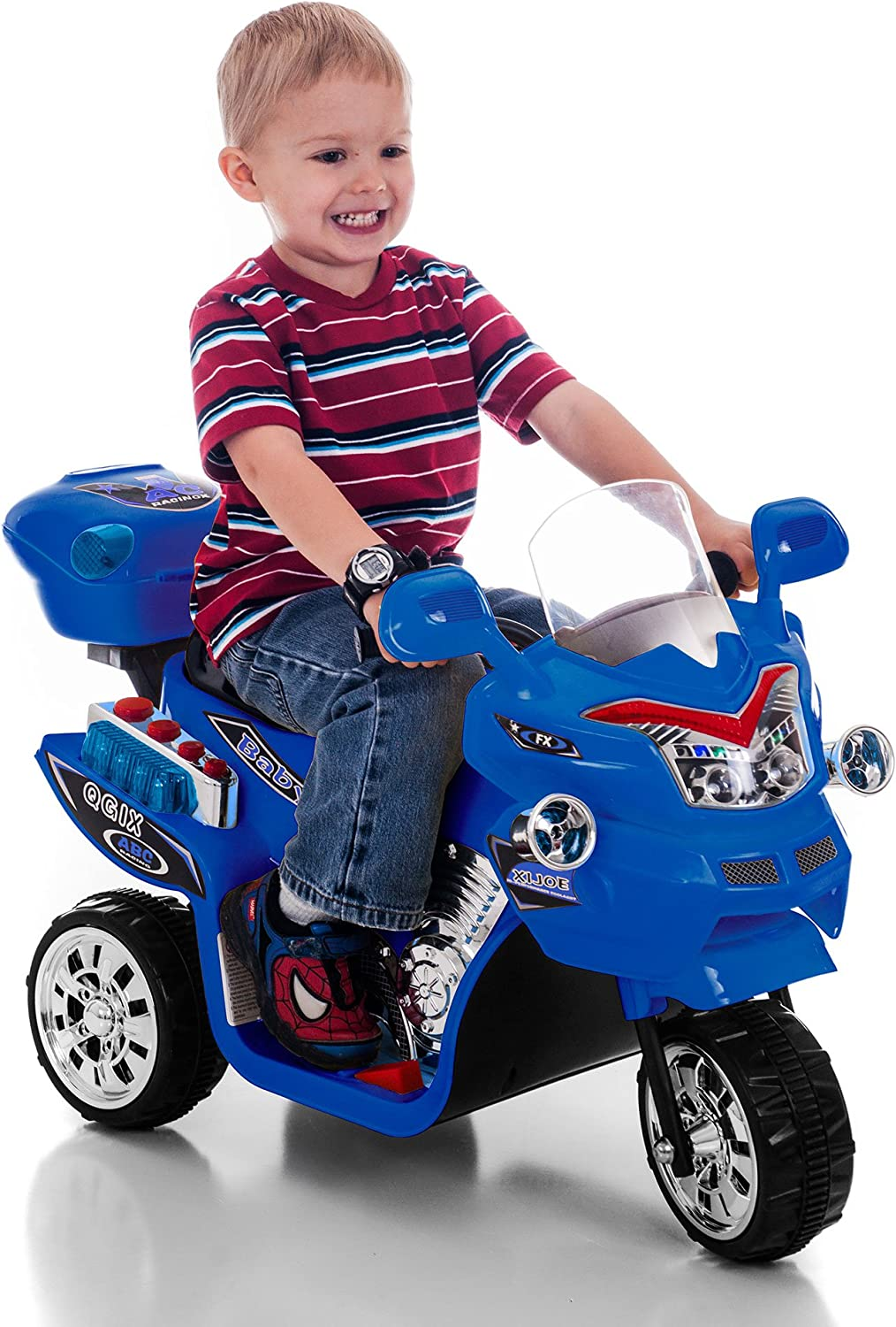 Ride on Toy Red FX 3 Wheel Motorcycle Trike for Kids by Rockin Rollers Battery Powered Ride on Toys for Boys and Girls 2-5 Year Old