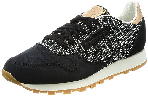 baa14148a1d1 Reebok Men s Cl Ebk Black Stark Grey Sand STN Leather Sneakers - 10 UK
