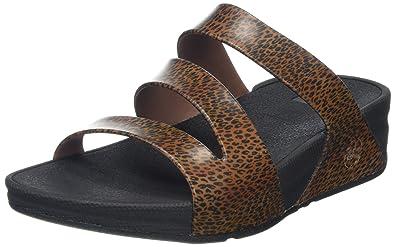 FitFlop Damen Superjelly Twist Leopard Sandalen Braun